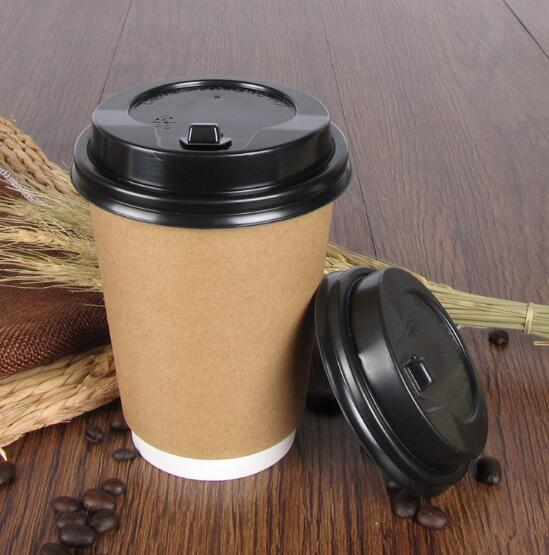 8oz High end double wall heat insulation hot coffee paper cup with lid set of 50pak
