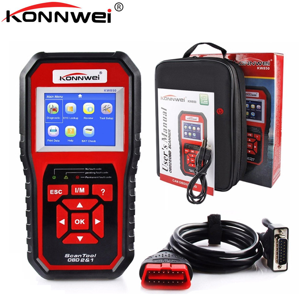 KONNWEI KW850 OBD2 ODB2 Scanner Auto Diagnostic Scanner for VAG BMW Toyota OBD 2 Car Code Reader Erase Errors Auto Scanner tools 2016 new arrival vs 890 obd2 car scanner scantool obdii code reader tester diagnostic tools 3 inch lcd car detector