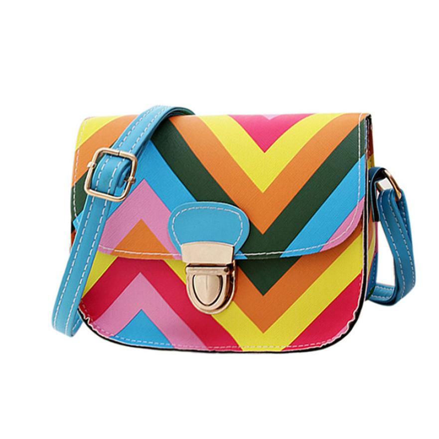 2018 Unique Design Women Shoulder Bags Fashion Rainbow Chain Crossbody Bags Ladies Leather Small Square Package bolsa feminina S
