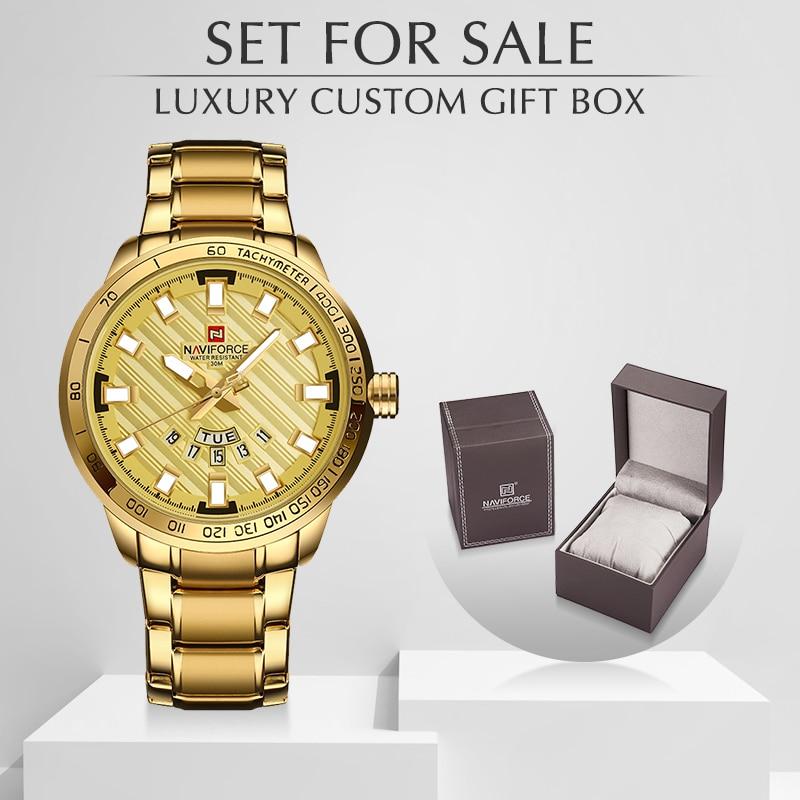 NAVIFORCE Luxury Brand Men Watch Fashion Quartz Full Steel Men's Watches With Box Set For Sale Man Sports Waterproof Wristwatch
