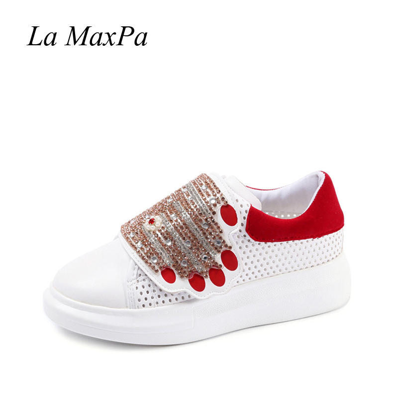 Platform Shoes Women Sneakers 2018 Spring Hook Loop Female Shoes Thick Crystal Hand White Shoes Chaussure Femme Size 35-41