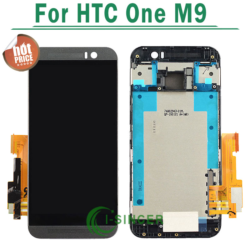 Black silver gold For HTC One M9 LCD Display Touch Screen Digitizer Assembly with Frame Free Shipping for htc one mini lcd 601e m4 lcd display with touch screen digitizer assembly free shipping 100
