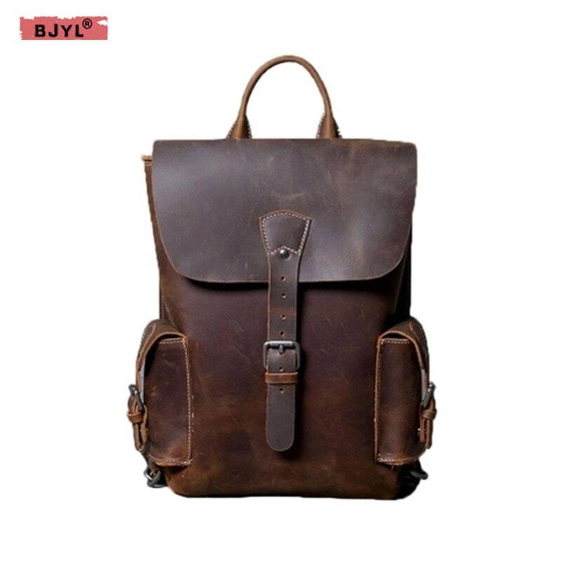 BJYL оригинальный ретро первый слой кожи Для мужчин рюкзак натуральная кожа сумка литературы в духе колледжа обувь для мужчин и женщин рюкзак