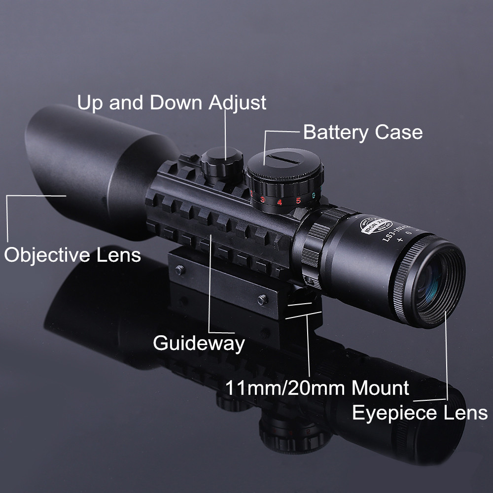 Tactical 3-10x40 Hunting Riflescope Red/Green Dot Laser Scopes 20mm Rail Sniper Optics Reflex Airsoft Air Guns Holographic Sight kandar 6 18x56q front tactical riflescope big objective with glass plate riflescope military equipment for hunting scopes