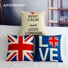 London Linen Cushion Cover Royal Guard Union Jack UK Flag Love British Pillow Covers Decorative Sofa Cotton Case