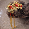 Vintage Red Rhinestone with Tassel Chinese Traditional Style Bridal Hair Comb Wedding Hair Accessories
