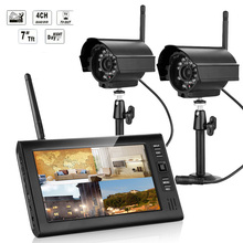 "2.4GHz Wireless 4CH Quad Home Security System 4 Digital Cameras With 7"" TFT LCD DVR Support PAL&NTSC Night Vision"