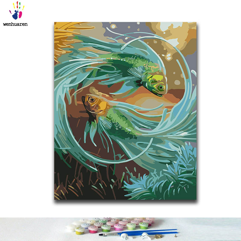 DIY Coloring paint by numbers fish paintings by numbers with kits 40x50 framed