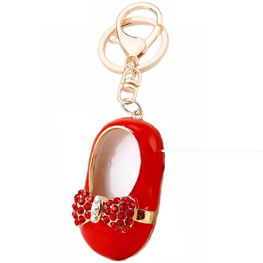 Персонализированные металла кристалл обувь с бантом кольцо для ключей Для женщин сумка брелок автомобиль брелок порте скрипичный ключ Тал...