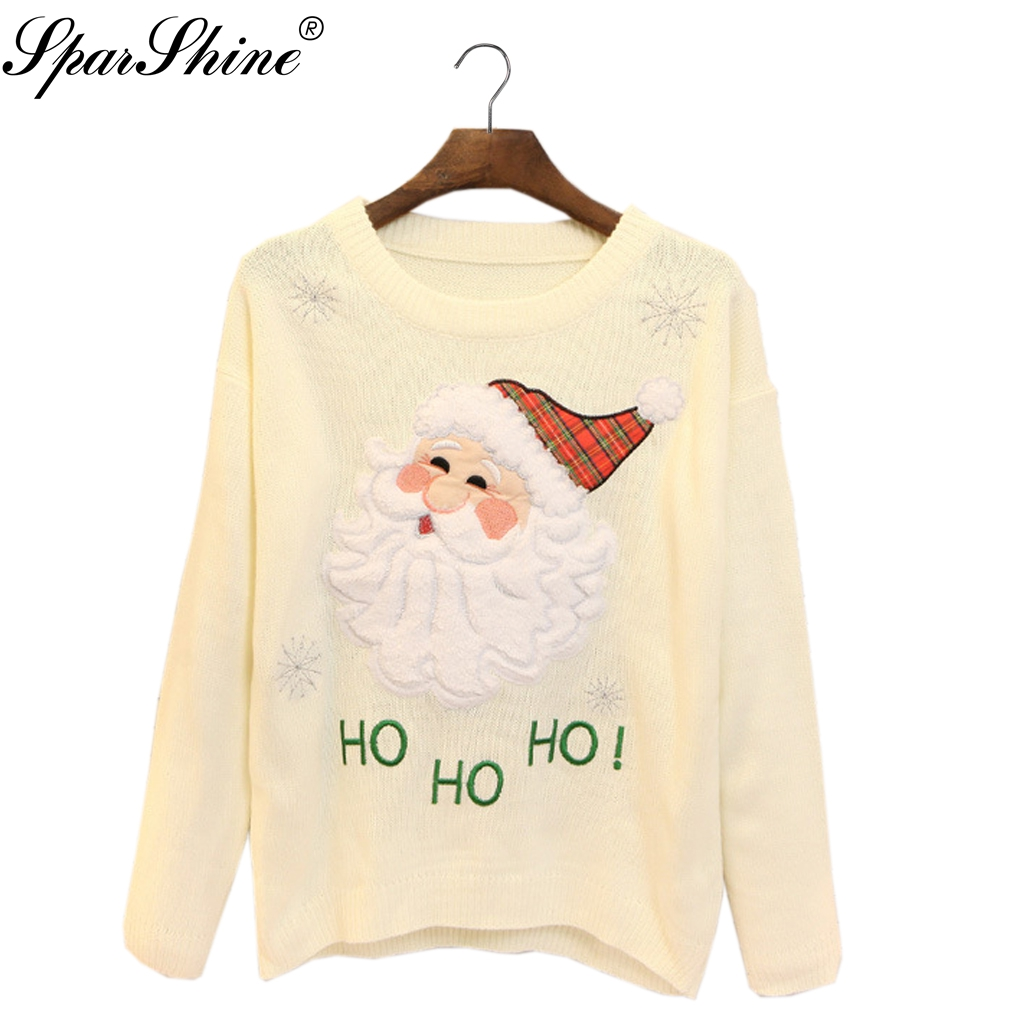 2017 Christmas Sweater Pullover Jumper Knitted Sweater Pull Femme Hiver SPARSHINE Autumn Winter Clothes Women Christmas Pullover