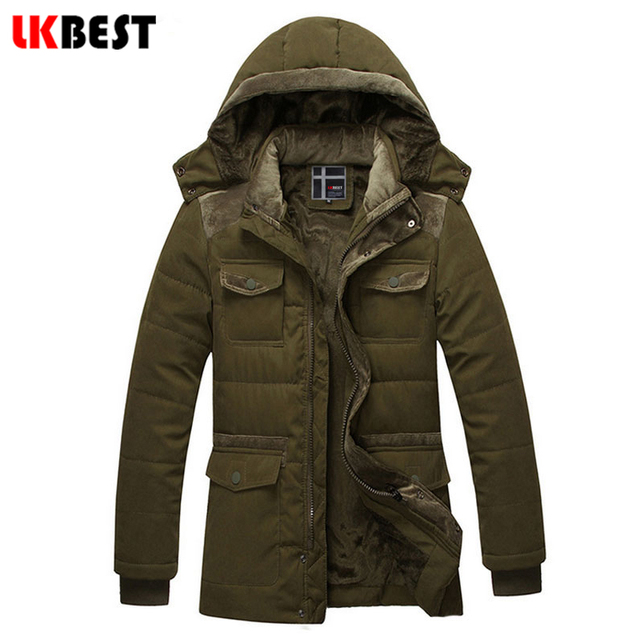 LKBEST 2017 winter jacket for men high quality Hooded winter down coat long cotton men parka Thick Warm men overcoats (PW608L)
