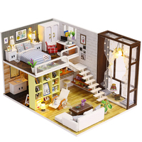 LCLL Diy Wooden Doll House Toy Dollhouse Miniature Assemble Kit With Led Furnitures Handcraft Miniature Dollhouse Simple City