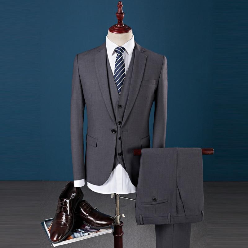 Jacket+Pant+Vest 2017 Men's Pure color suit Slim Fit fashion leisure wedding dress suits Man Business Men coat blazers