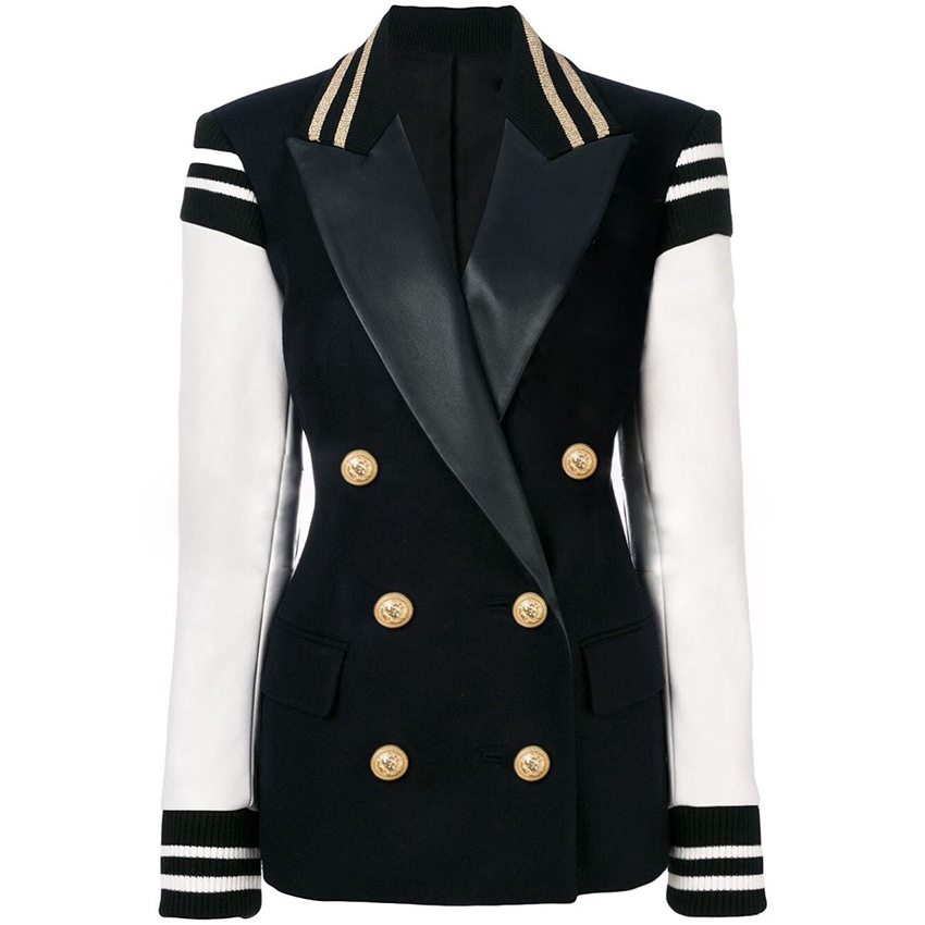 Fashion Blazer Feminino Pocket Double Breasted Women Blazer Leather Sleeve Lion Button Patchwork Blazer Mujer 2019 Jacket Women