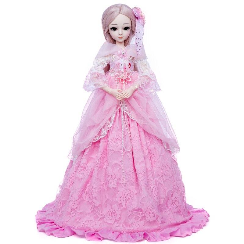 Princesa anna 1/3 60 cm boneca bjd diy moda peruca boneca vestido princesa boneca menina brinquedos