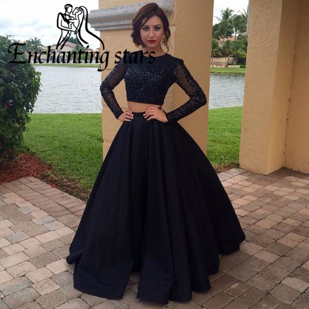 2017 Full Crystals Two Piece Prom Dresses Vestidos Black Satin Long Sleeves O'Neck Women Runway Fashion Dress Evening Party Gown - Molibridal_ Store store