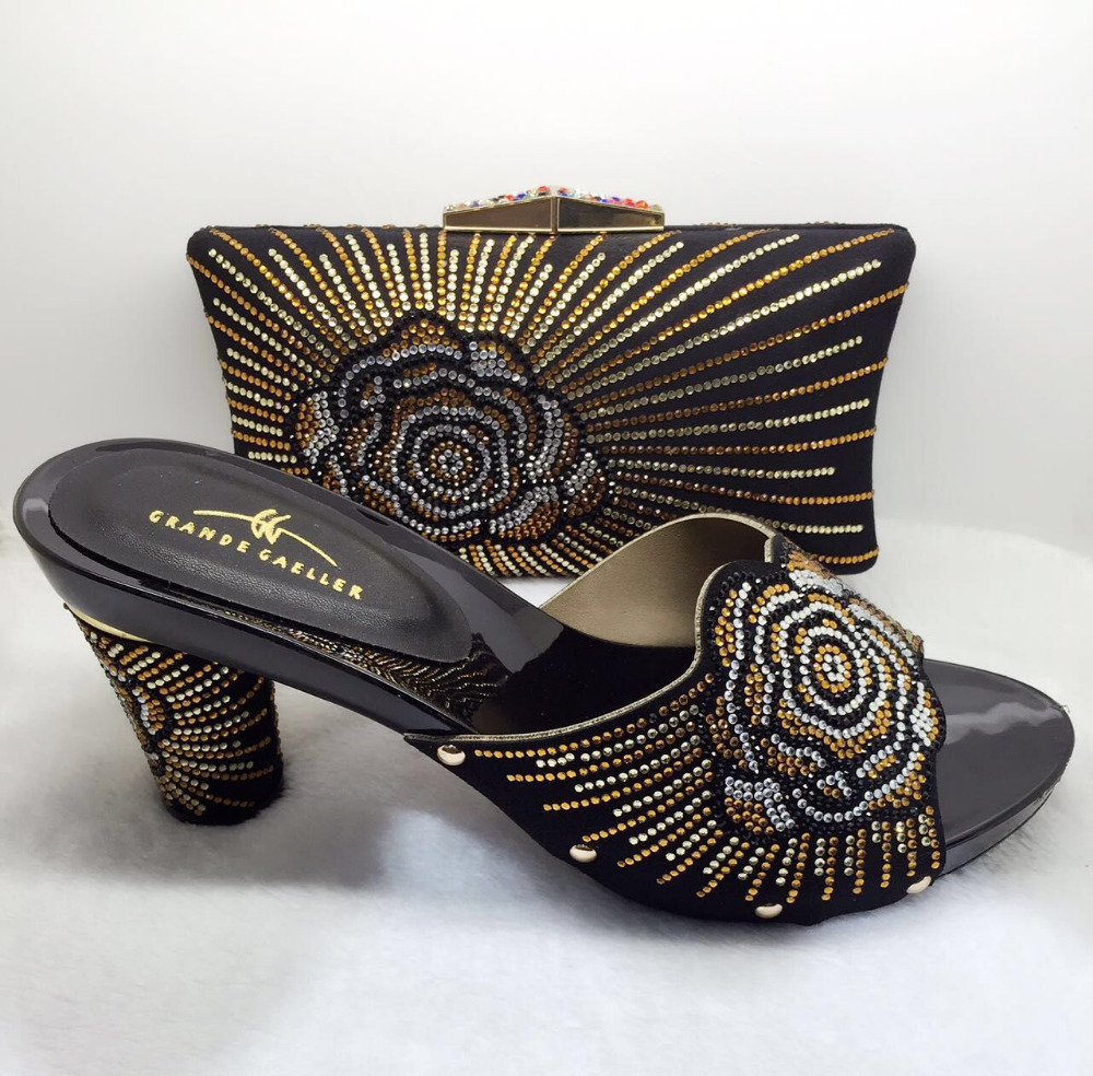Sandals honeymoon shoes with rhinestone - 2016 Rhinestones Decoration Matching Shoes And Bag Set For African Women Sandal Italian Shoes With Matching