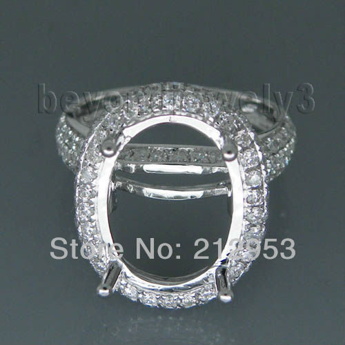 Vintage Oval 14x10mm 18kt White Gold Wedding Setting Mounting Genuine Diamond Wedding Ri ...