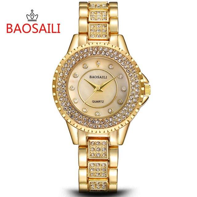 BSL1027 BAOSAILI Shell Rhinestone Embedded Women Bracelet Watch Waterproof Wrist