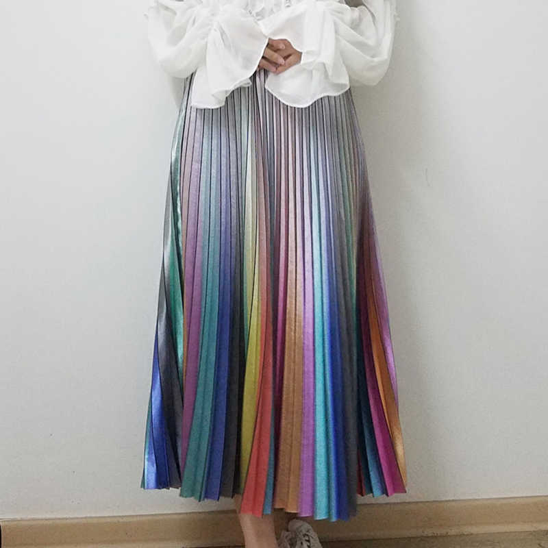 dee272f744c5 2019 Spring Summer Women Long Skirts Fashion Brand Rainbow Striped Pleated  Skirts High Waist Women Midi