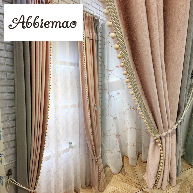 Abbiemao Modern Chenille Splicing Curtains Pink Tassels Wedding Curtain For Bedroom Living Room Customized Window Treatments