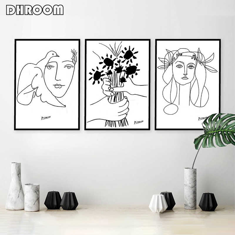 Picasso Line Art Drawing Canvas Art Prints Sketches Woman Bouquet of Peace Painting Poster Minimalist Wall Art Home Wall Decor