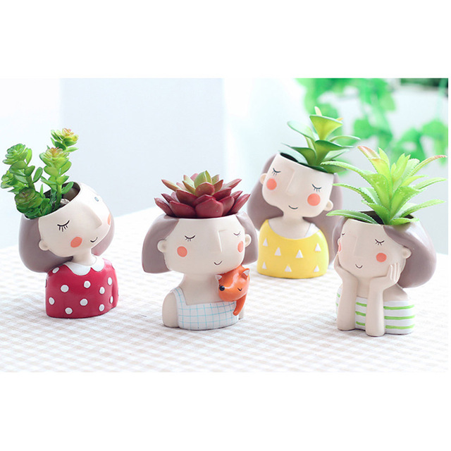 Mini Cute girl boy Planter Flower Pot Home Garden Home Decoration Flowerpot Planter Desktop Vase Home Office Bonsai Pot 3