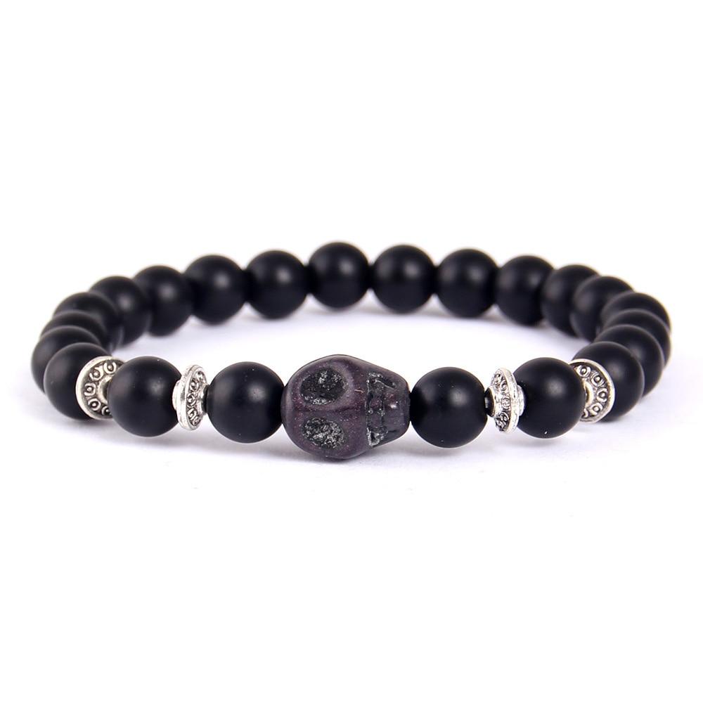 Little Minglittle 8mm Lave Stone men bracelet Natural Stone Skull beads bracelets bangles Buddha Charm Yoga bracelet for women in Charm Bracelets from Jewelry Accessories