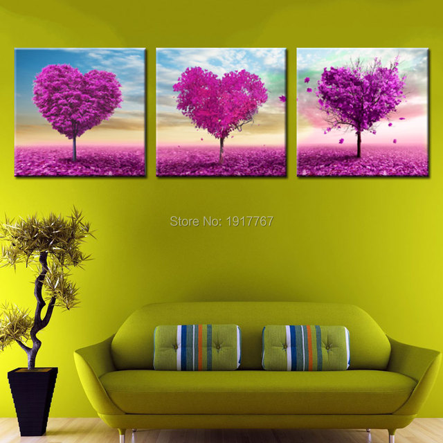 modern warm unique idea Romantic painting heart of love picture pink ...