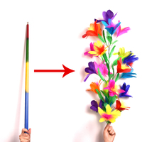 Vanishing Disappearing Rainbow Metal Cane to Flowers Amazing Magic Tricks Close Up Magic Magic Props For Professional Magician