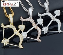 New Designed Iced Out Bow & Arrow Pendant Solid Back Necklace Hip Hop Gold Silver Color Mens/Women Charm Chain Jewelry(China)