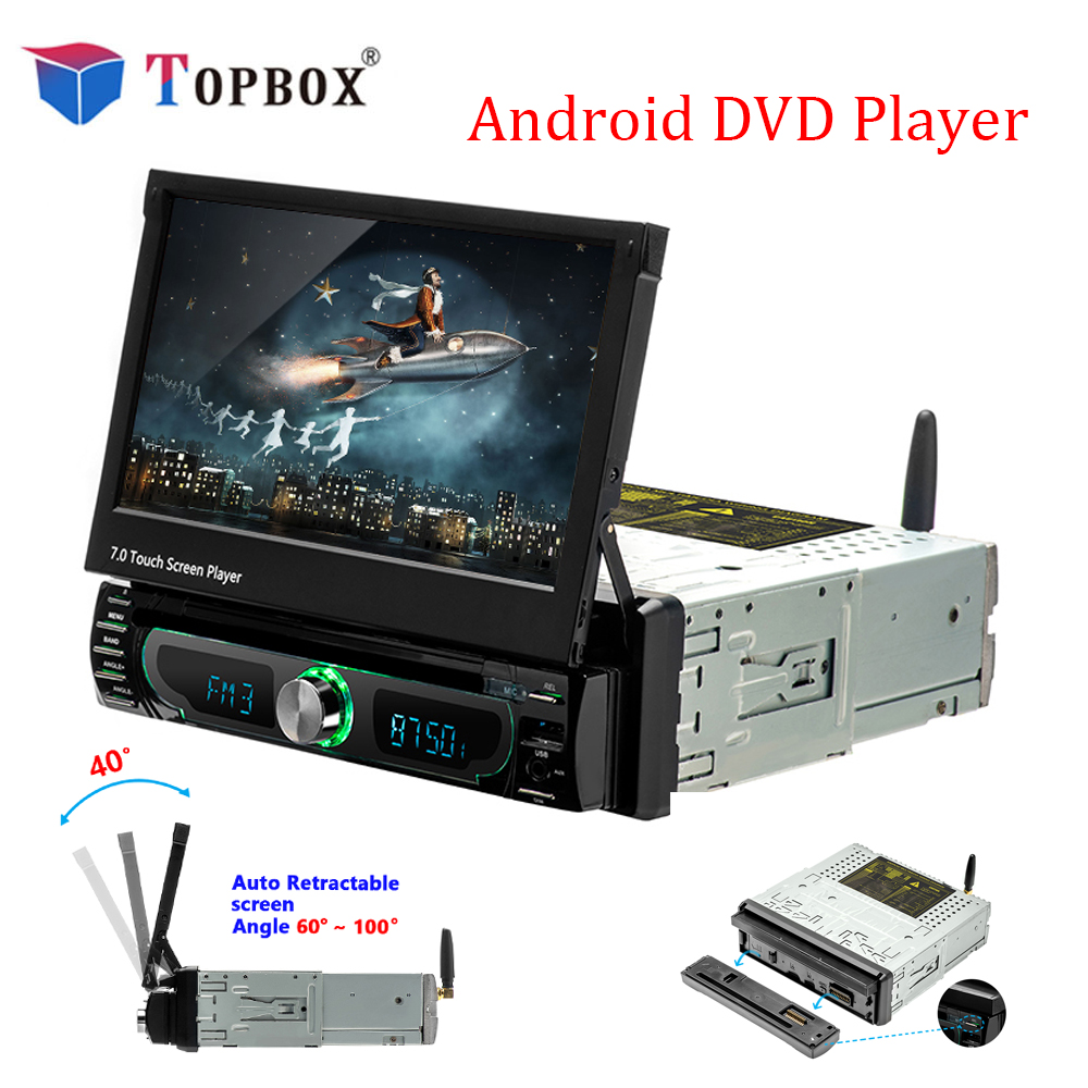 Topbox Car Radio Android GPS Navigation 12V 1 din In-dash Autoradio Wifi Car Audio Stereo Universal DVD Player Rear View Camera