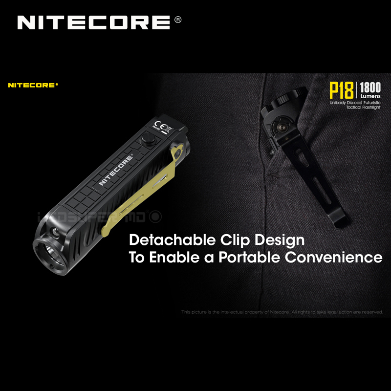 1800 Lumens Nitecore P18 Unibody Die case Futuristic CREE XHP35 HD LED Tactical Flashlight with Auxiliary Red Light - 6