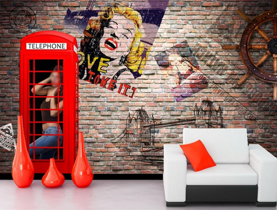 Custom large mural,Retro nostalgia Monroe brick wall papel de parede,bar living room sofa tv wall 3d stereoscopic wallpaper 3d mural papel de parede purple romantic flower mural restaurant living room study sofa tv wall bedroom 3d purple wallpaper