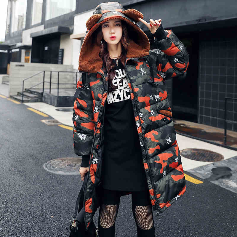 2017 autumn and winter new female students cotton women long section Korea long sleeve lady cotton jacket mantle wild coat point systems migration policy and international students flow