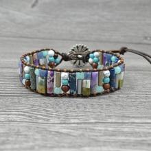 Vintage Natural Stone Tube Shape Beads Bracelet Multi-layer Women Boho Cuff Bracelet Ladies Boho Leather Wrap Bangle Jewelry