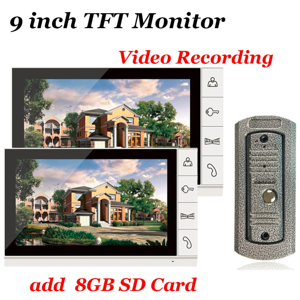 Home use 9 inch Color TFT Monitor 8GB SD Card Video Record Door Phone DoorBell Intercom System IR Camera for Apartment Security 8 inch tft lcd color video doorbell intercom system white color video door phone monitor screen without ir coms outdoor camera