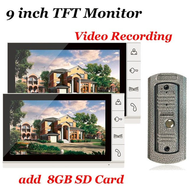 Home use 9 inch Color TFT Monitor 8GB SD Card Video Record Door Phone DoorBell Intercom System IR Camera for Apartment Security