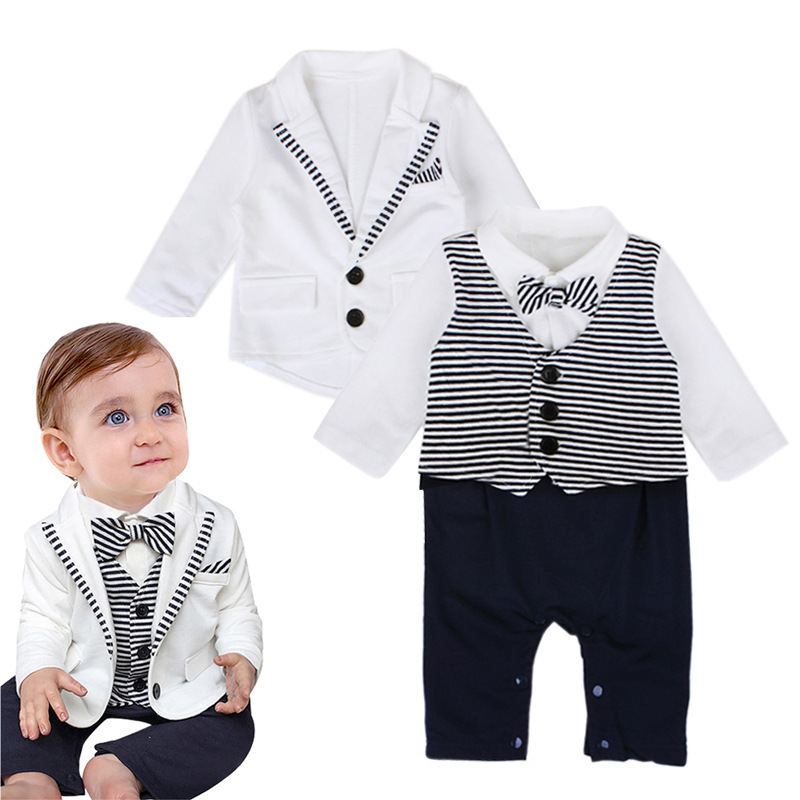 Newborn Baby Boy Rompers Autumn Gentleman Suit Jacket Romper 2PC Long Sleeve Bow Leisure Suit Infant Toddler Stripe Clothes ku31