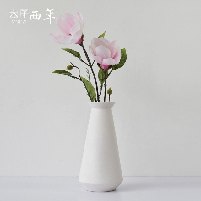 Vase fashion decoration dried flowers nordic brief white ceramic ...