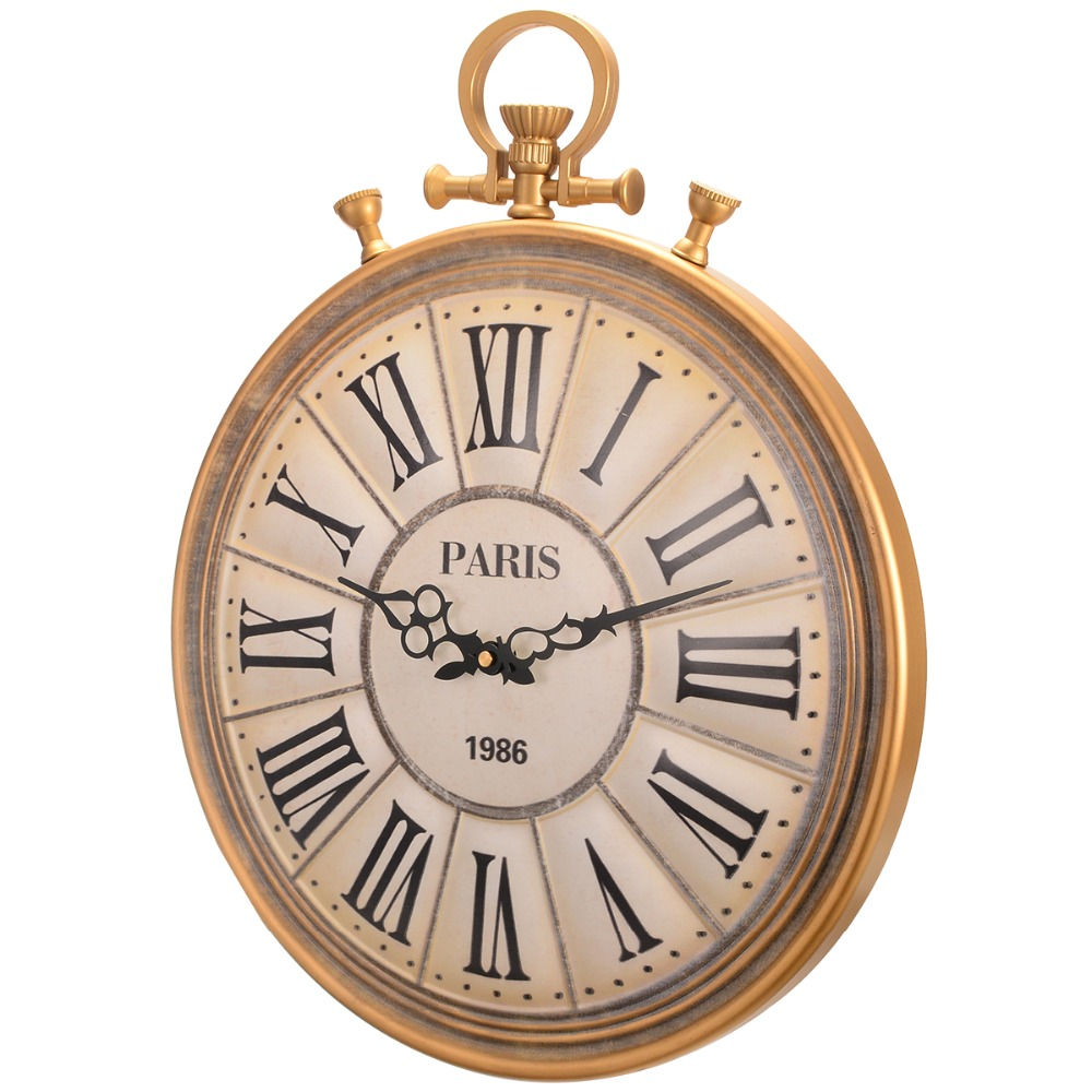 50cm Vintage Retro Clocks Pocket Watch Style Wall Hanging Clock Large Wall Clock for Living Room Kitchen Home Decoration Timer