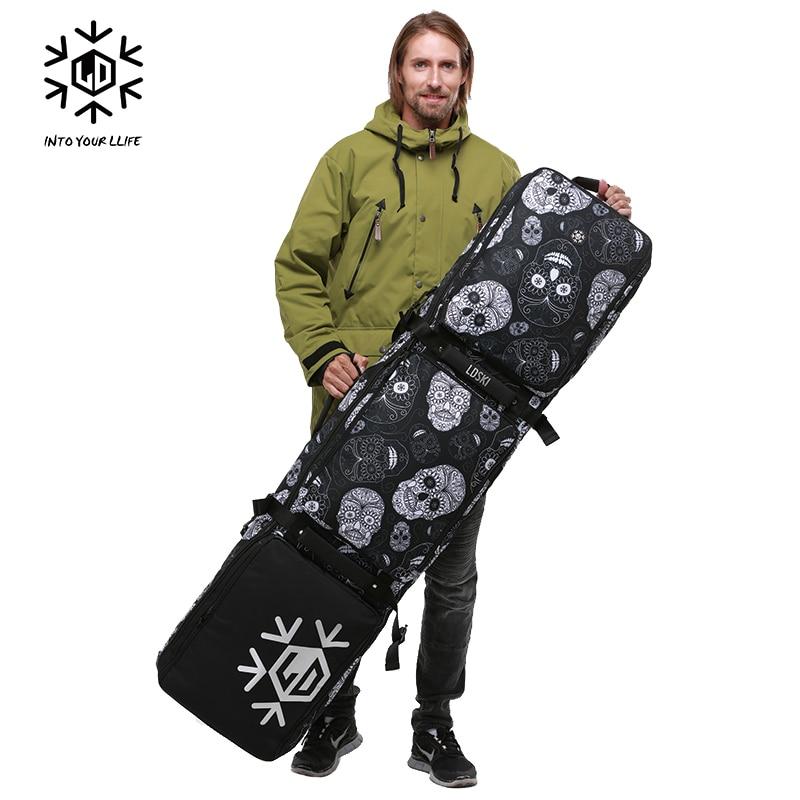 Sac à roulettes de Ski Snowboard avec roues 155 cm 165 cm 175 grande capacité imperméable portable sacs de Ski équipement de Ski Bolso Patines - 5