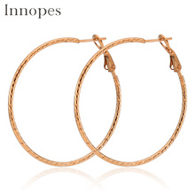 Innopes fashion geometric circle hoop earrings stainless steel large jewelry woman bright  party earring