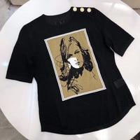 Дизайнерские бренды люксовые для женщин топ с круглым вырезом Воротник Высокое качество футболки короткий рукав дамы сезон: весна лето фут