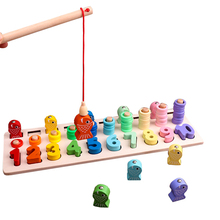 Hot Kids Wooden Educational Toys Baby Montessori Math Blocks Sorting Set Child Fishing Learning Puzzles Toys Kids Preschool Gift baby toys montessori wooden toys educational blocks baby early learning teaching set math toy shapes cognition birthday gift
