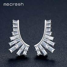 Mecresh Geometric Brand Luxury Earring Jackets for Women White Gold Color CZ Fashion Jewelry Party Christmas Gift 2018 MEH1060(China)