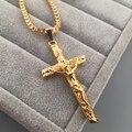 Новый Нержавеющей Стали Желтое Золото Покрыло INRI Иисус Крест Кулон и Ожерелье Box Цепи для Мужчин Подарок Урожай Христианской Ювелирных Изделий