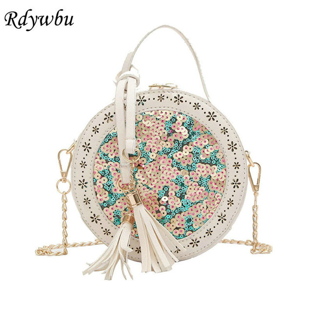 9c4d07ed59 US $16.52 30% OFF|Rdywbu Glitter Sequins Circular Shoulder Bag Women's  Fashion Tassels PU Chain Bag Girls Hollow Out Crossbody Travel Bags B140-in  ...