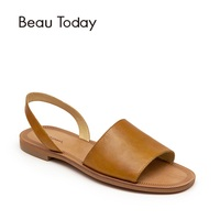BeauToday Summer Sandals Women Genuine Cow Leather Female Gladiator Slingback Elastic Strap Shoes With Box 32032