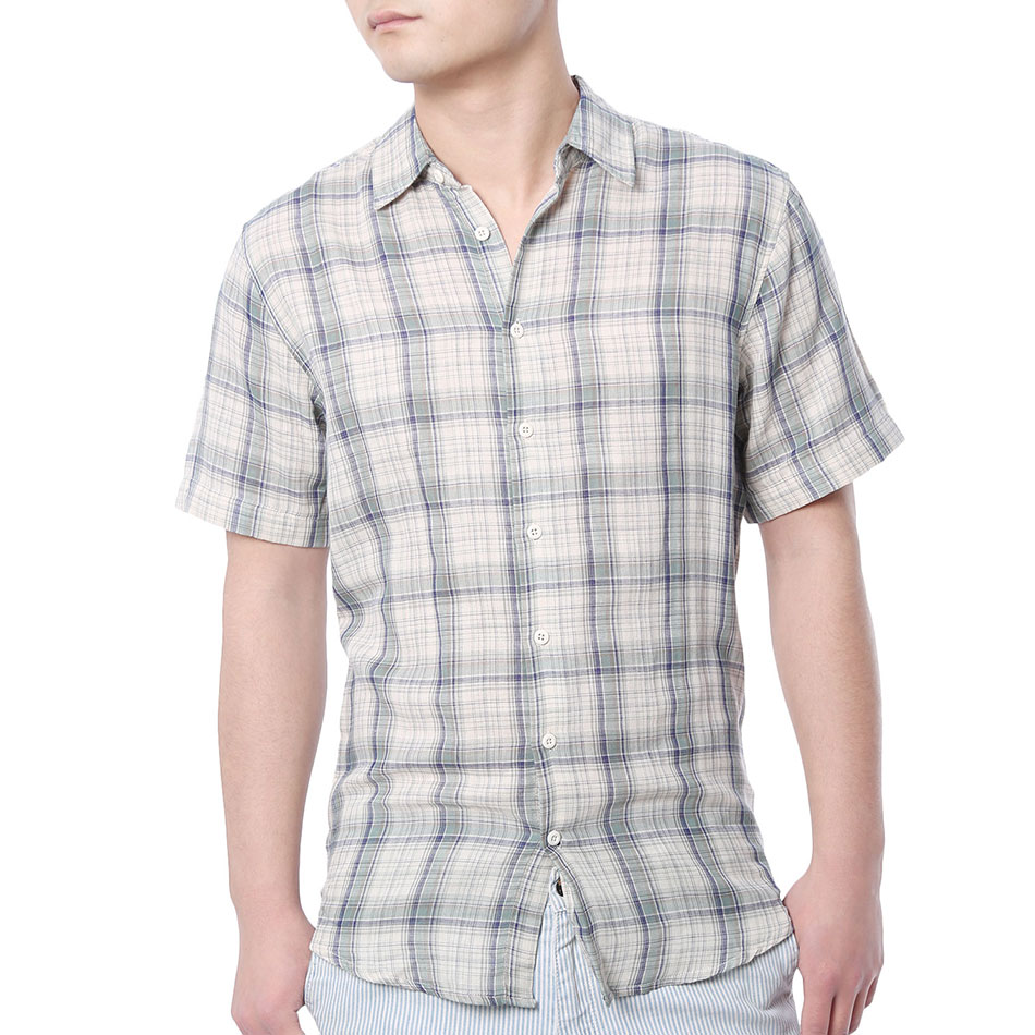 Buy fitted men shirt short sleeved check for Mens fitted short sleeve shirts